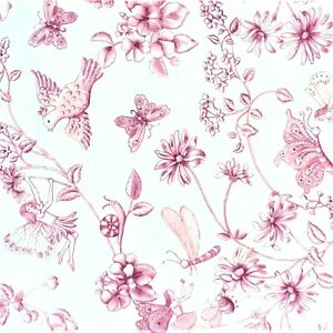 """WHITE COTTON PINK FLORAL FAIRY 24"""" X 18"""" CRAFT FABRIC MATERIAL SEWING REMNANTS"""