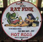 VINTAGE PORCELAIN RAT FINK HOT ROD PIN UP ED ROTH GAS OIL SIGN