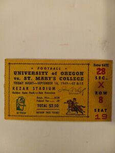 Vintage 1949 University Of Oregon Vs. St. Marys College Football Ticket Stub