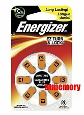 Energizer 13 AZ13 PR48 AC13 DA13 Zinc Air Hearing Aid Batteries 1.4V 8pc in pack