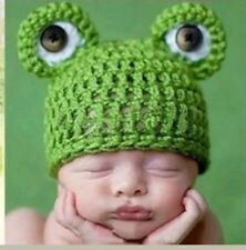 Frog baby knit crochet beanie cap hat 3-6 months boy girl costume