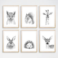 Black & White Woodland Animal Art Prints Nursery Childrens Bedroom Pictures Grey