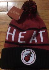 New NWT Miami Heat Beanie Pom Winter Sock Hat NBA Mitchell & Ness