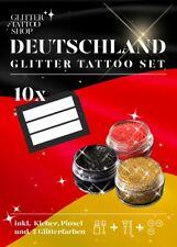 Deutschland Set 10 Schablonen 1 x 15ml Body Glue 3x 6ml Glitzer Schwarz Rot Gold