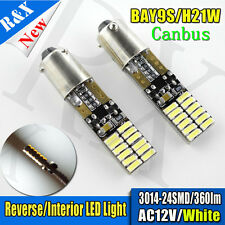 2X Canbus White H21W BAY9s 120° 3014 24SMD LED Bulb for Backup or Parking Lights
