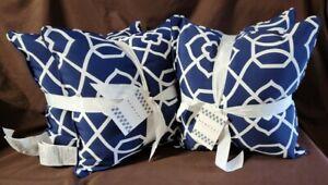 "2 - 2Pk Kirkland Navy Indoor/Outdoor 18"" Filled Square Throw Pillows"