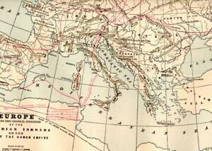 CRAM'S ATLAS MAP PAGE PLATE OF EUROPE A.D. 500 & BARBARIAN INVASIONS (1894)