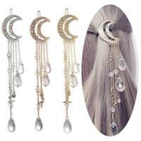 Moon Crystal Rhinestone Dangle Hair Clip Women Bridal Jewelry Hairpin Pretty
