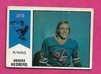 RARE 1974-75 OPC WHA # 17 JETS ANDERS HEDBERG ROOKIE CREASED CARD  (INV# C4219)