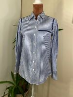 Zara  Button Up Striped Fitted Casual Boho Work Chic Shirt Size S