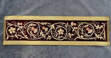 "Antique French Embroidery Gold Metallic on Burgundy Velvet  31.5"" x 8.6"" - 19th"