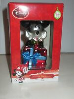 DISNEY HALLMARK MINNIE  MOUSE WITH HOLIDAY GIFT BLOWN GLASS CHRISTMAS ORNAMENT