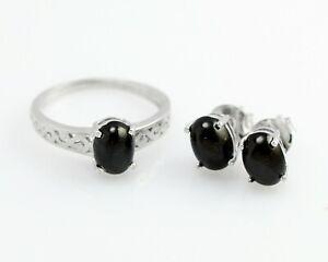 8x6 mm Natural Black Star Gemstone 925 Sterling Silver Wedding Jewelry Set