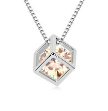 18K GOLD GP Genuine Made With SWAROVSKI CRYSTAL Cubic Pendant NECKLACE
