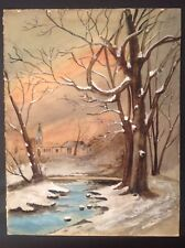 Armand CASSAGNE 1823-1907 Barbizon Paysage en hiver sous la neige  Aquarelle