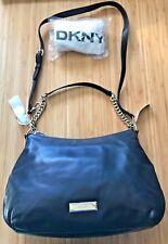 $365 DKNY Large Hobo Chain Convertible Shoulder Bag Karan Black Leather Nappa