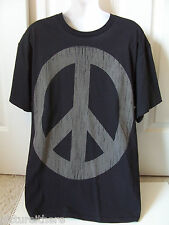 Peace Sign T-Shirt Black Weathered Gray Hippie  L Large