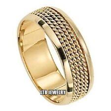 10K YELLOW GOLD MENS BRAIDED WEDDING BAND RING HANDMADE