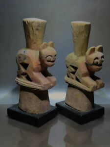pair pre columbian wood scepter ritual offering animal predator cat figure pacha