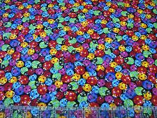 3 Yards Quilt Cotton Fabric - Timeless Treasures Rainbow Ladybugs Packed Black