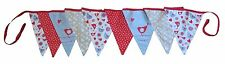 VINTAGE LITTLE BIRDS CHIC WEDDING PARTY FABRIC RED BLUE DOUBLE SIDED BUNTING 3M
