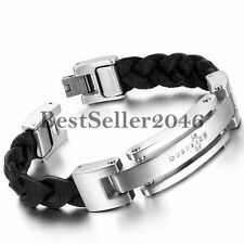 Charm Leather Braided Polished Stainless Steel Cross ID Men's Bracelet Bangle