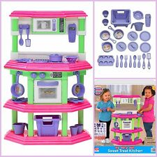 Kids Kitchen Playset Toy Pretend Play Set Cooking Food Pink Toy for Girls Gift