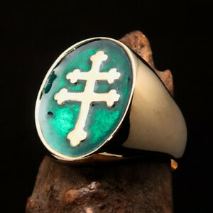 Nicely crafted oval Men's Resistance Ring Two Barred Cross of Lorraine Green