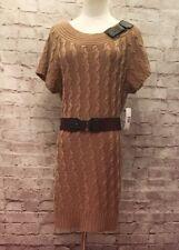 New Directions Brown Sweater Dress Short Sleeve BodyCon Elastic Belt  Womens XL