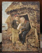Dipinto olio su tavola personaggi che intagliano - fine '800 primi '900