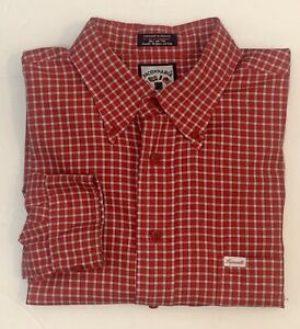 Men'S FACONNABLE Red Plaid Button Down Long Sleeve Dress Shirt 2XL XXL