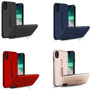 For iPhone XS Max Finger Grip Hybrid Case Cover, Silicone Strap & Metal Stand