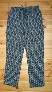 M & S INDIGO COLLECTION PULL-ON SUMMER TROUSERS UK 12 Long - immaculate!
