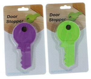 Lot of 2 Key Shaped Rubber Door Stopper Flexible Non-Scratching Wedge Doorstop