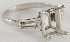 Platinum  Semi Mount Tapered .Baguette Diamond Ring Size 5.75