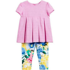 Ralph Lauren Baby Girls Pleated Oxford Top & Floral Legging Set Pink Size 12M