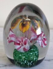Vintage Yellow Brown Pink White Trumpet Flower Egg Shaped Paperweight