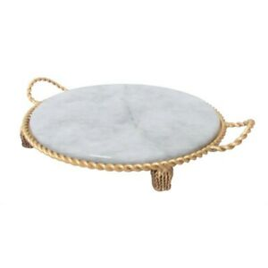 Luxe Ornate Round Gold Swag Tassel Decorative Tray White Marble Twisted Rope