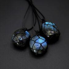 Mens Braid Chain Natural Stone LABRADORITE Pendant Crystal Moonstone Necklace