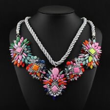 XL Anhänger Statement Kordel Kette Strass Neon Kristalle Necklace Perlen Collier