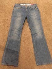 "Express X2 Womens Flare Leg Light Blue Denim Jeans sz 8 x 33"" inseam"