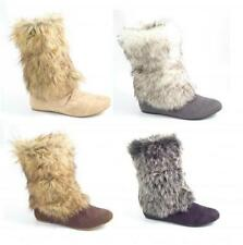 """Women's Faux Suede Flat (less than 0.5"""") Snow, Winter Boots"""