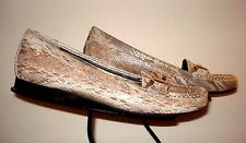 Ros Hommerson Gold/Silver Leather Embossed Reptile Horsebit Loafer Sz 9AA MINTY!
