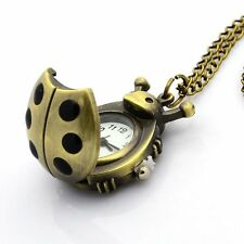 Antique Bronze Alloy Ladybug Pendant Necklace Quartz Pocket Watch Chains 31.9""