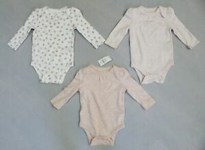 Baby Gap Girl's First Favorites 3-Pack Long Sleeve Bodysuits AW7 Pink Size 3-6M