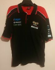 DUCATI ser más prudente Racing Team S/S Negro Camisa Polo Bordado Rojo 100% Cuna XL/2XL