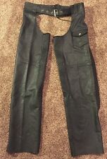 Guide Gear Leather Chaps Mens Size Medium Black Unlined Stretch Lace Up & Belt