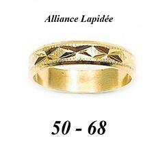 Bijoux Homme Femme T50 Alliance X Lapidée 4mm Plaqué Vermeil Laminé Or 18K T50