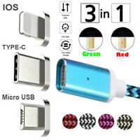 3IN1 Magnetic Micro USB/Type C/IOS Fast Charging Cable Braided Charger Data Line