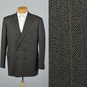 42L 1980s Mens Double Breasted Pinstripe Suit Jacket Gray Blue Double Vent 80s